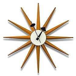 Classic Wooden Sunburst Wall Clock, Contemporary George Nelson Series Designed, Mid Century Handmade Antique 3D Star Burst Wall Clock, No Ticking Modern Quartz Decor Watch, 48Cm/19'',Wood