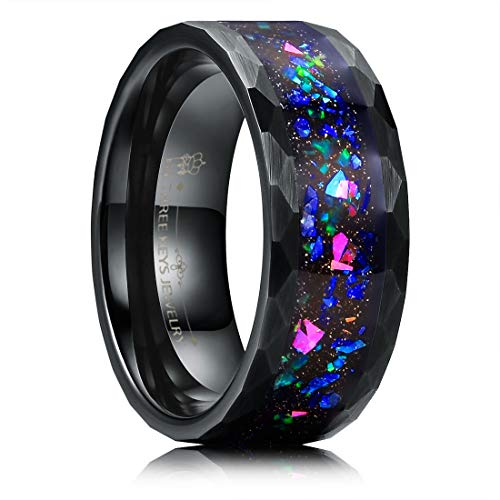 THREE KEYS JEWELRY 8mm Men's Tungsten Rings Black Carbide Galaxry Opal Stone Hammered Beveled Multi-Faceted Edge Wedding Bands for Men Size 15