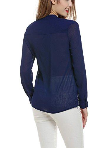 Aimado T-shirt Camiseta Blusa romántica semitransparente de mujer de gasa blusa con corbata de lazo en el cuello Azul marino