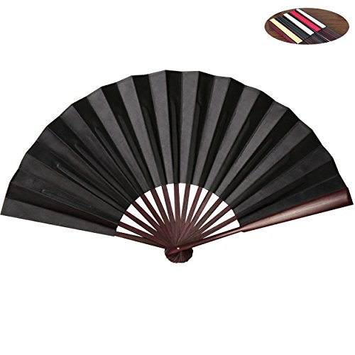 Chinese Folding Fan HONSHEN Hand Fan with Traditional Chinese Arts Handicraft Black - Shade Fan