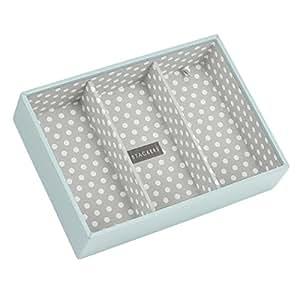 Stackers classic size |caja de la joyería organizador con 3 secciones profundas para relojes y pulseras, polca azul y gris forro de algodón de punto