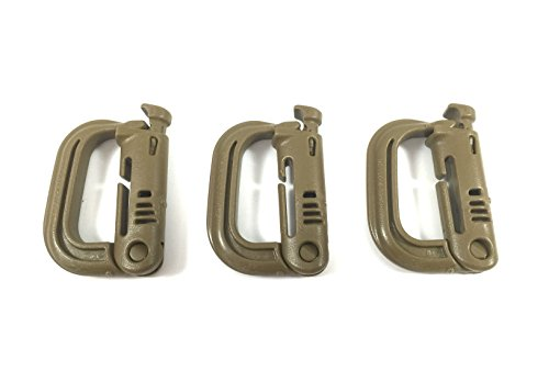 ITW GrimLoc - Locking D-Ring for Molle Gear - Tactical Accessory Locking Carabiner (3 pack) (Coyote (Grimloc Carabiner)