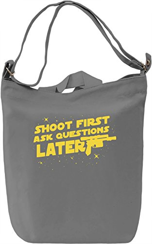 Shoot Fist Ask Questions Later Borsa Giornaliera Canvas Canvas Day Bag| 100% Premium Cotton Canvas| DTG Printing|