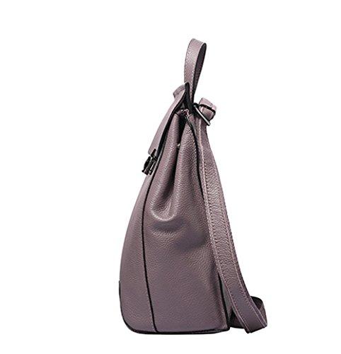Otoño e Invierno XinMaoYuan Moda de cuero Bolsos de cuero patrón Litchi Mochila bandolera de estilo coreano sección vertical de color sólido, Rojo Violeta