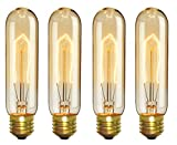 CTKcom Vintage Edison T10 40W Light Bulbs w/E26 E27 Base(4 Pack)-Tubular Nostalgic Filament Dimmable Incandescent Bulbs Antique Equivalent Lamps,Pendant Light for Home Light Fixtures E26/E27 110V