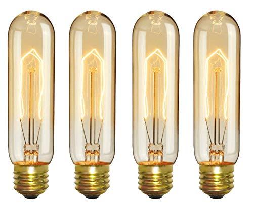 (CTKcom Vintage Edison T10 40W Light Bulbs w/E26 E27 Base(4 Pack)-Tubular Nostalgic Filament Dimmable Incandescent Bulbs Antique Equivalent Lamps,Pendant Light for Home Light Fixtures E26/E27 110V)