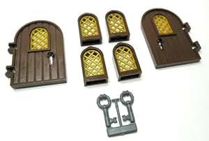 LEGO - Puertas y ventanas con rejas, incluye 2 llaves (2 puertas, 4 ventanas), color marrón y negro y blanco y negro