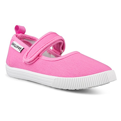 [SCM258P-PNK-T6] Girls Mary Jane Sneakers: Pink Strap Shoes, Toddler Size 6 - Mary Jane Canvas Sneakers