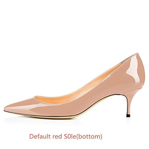Cuir Nude Verni Travail Pan de Pointu Talon Rouge Semelle Chaton Chaussures Fête 65MM Caitlin Robe Femmes Bout Escarpins ZzvxnCqqHw