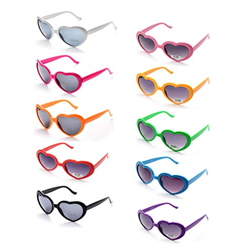 Onnea 10 Pack Wholesale Heart Shaped Neon Color Sunglasses for Party Supplies,100% UV Protection (10-Pack Mix)