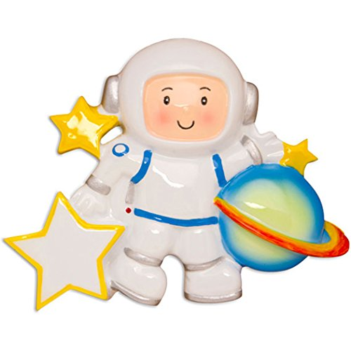 Personalized Astronaut Christmas Tree Ornament 2019 - Cosmonaut Kid White Planet Space-Flight Craft Dream Traveler Toy World Game NASA Science Grand-Child Son Toddler Gift Year - Free Customization
