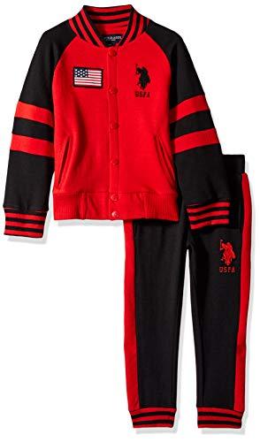 U.S. Polo Assn. Boys' Little Fleece Jog Set, no Attached Hood Black/red, 5/6 ()