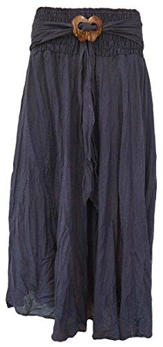 Knack Women's Long Full Crinkle Cotton Skirt & Coconut Shell Buckle (Navy)