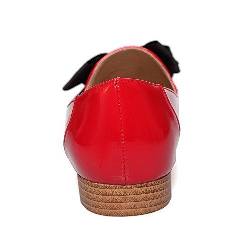 Odomolor Mujeres Mini Tacón Sin cordones Puntera Redonda Cerrada De salón con Lazos Rojo