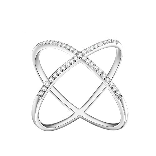 KIVN Fashion jewelry Criss Cross Over Tiny Pave