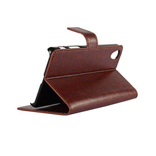 Xperia X Performance Funda,COOLKE Retro PU Leather Wallet With Card Pouch Stand de protección Funda Carcasa Cuero Tapa Case Cover para Sony Xperia X Performance - Azul Marrón