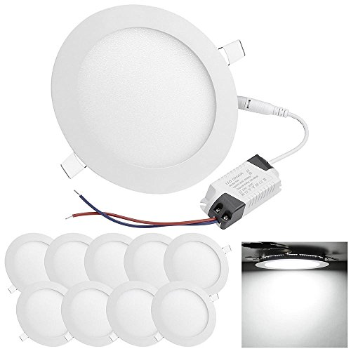 "DELight 9W 6"" LED Recessed Lighting 10 Pack Ultra-thin 6000-6500K Round Ceiling Panel Light 60W Equivalent"