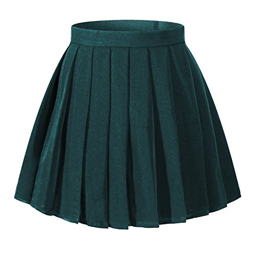 Women`s School Uniform High Waist Solid Pleated Skirts (4XL,Dark -