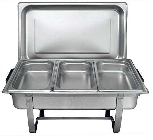 Dish Insert Chafing (Chef Choice 8 Quart Full Size Stainless Steel Chafer 3 1/3rd Size Chafing Food Pans and Cool-Touch Plastic on top (1, Full Size with 1/3rd Inserts) (1))