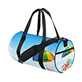 U LIFE Summer Ocean Sea Beach Tropical Palm Trees Sports Gym Shoulder Handy Duffel Bags for Women Men Kids Boys Girls