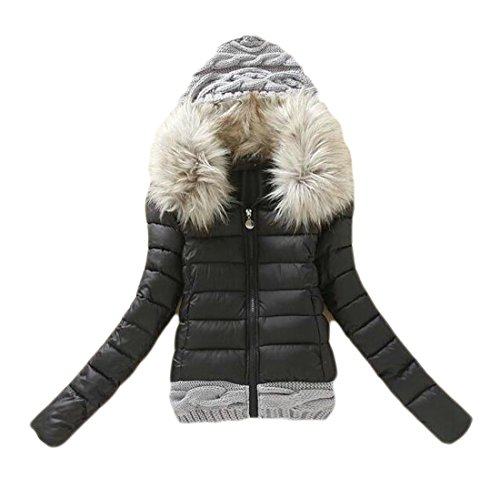 Elegance Quilted Pillow (RRINSINS Women's Long Sleeve Knitted Stitching Faux Fur Hooded Quilted Jacket Outwear Black XS)