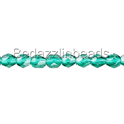 50 Czech Glass 6mm Round Faceted Fire Polished Beads In Transparent Colors (Teal)