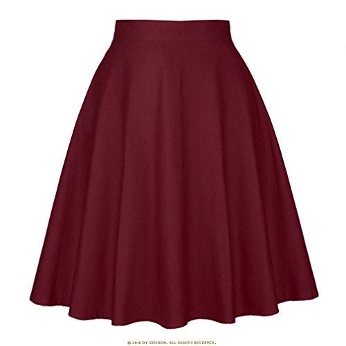 t Jupe Noire Femmes Taille Haute, Plus la Taille imprim Floral Pois Femmes Jupes d't Skater 50 s Vintage Midi Jupe Wine Red