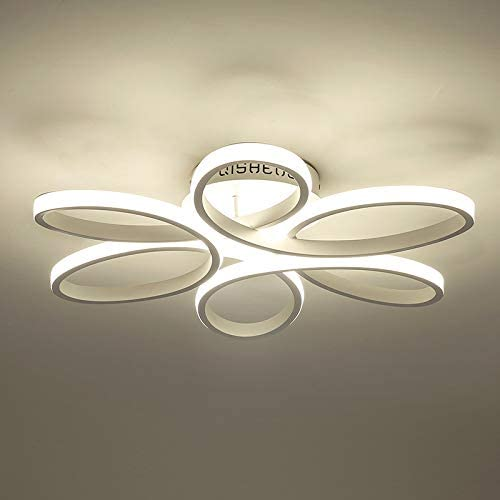 HOUDES Modern Led Chandelier Lighting 29Inch 90W for Dining Room Living Room Bedroom 3500K 6000K White
