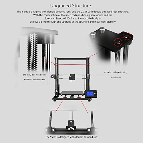 Goolsky Anet A8 Plus Upgraded High-precision DIY 3D Printer Self-assembly 300 * 300 * 350mm Large Print Size Aluminum Alloy Frame Moveable LCD Control Panel Over-current Protection Mainboard