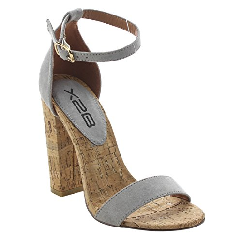Chunky Cork Heels (X2B FJ90 Women's High Chunky Heel Ankle Strap Single Band Dress Sandals, Color:GREY, Size:6.5)