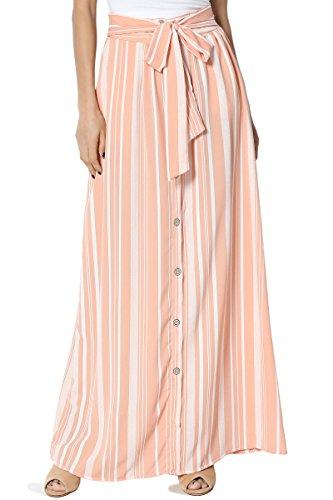 TheMogan Women's Striped Button Tie Belt Elastic Waist Pocket Maxi Skirt Rose L (Skirt Denim Tiered)