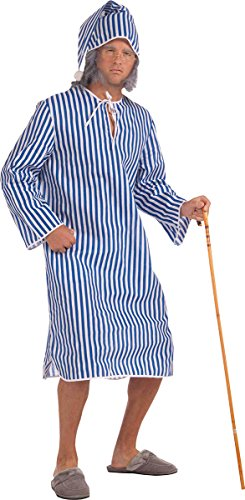 Men's Christmas Plays Fancy Dress Party Costume Scrooge Nightshirt With Cap