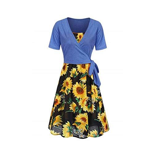 Nearzstorn Women Summer Dresses, Women's Short Sleeve Front Cross Top Sunflower Print Mini Dress Suits T-Shirt (Blue, XXL)