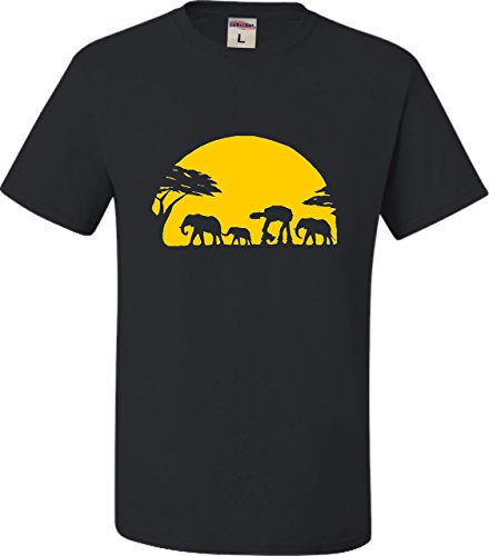 - XX-Large Black Adult Elephants and Imperial Walker Across African Safari T-Shirt