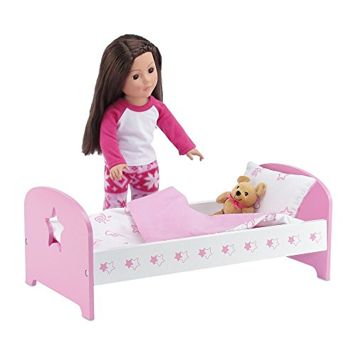 "18 Inch Doll Bed Furniture | Lovely Pink and White Single Bed, Includes Plush Reversible Bedding | Fits 18"" American Girl Dolls (Star Theme)"