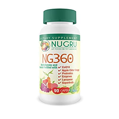 NG360 Multivitamin with CoQ10, Apple Cider Vinegar, Probiotics, Enzymes, Lycopene and Superfruits - Vitamin A 100% Beta Carotene