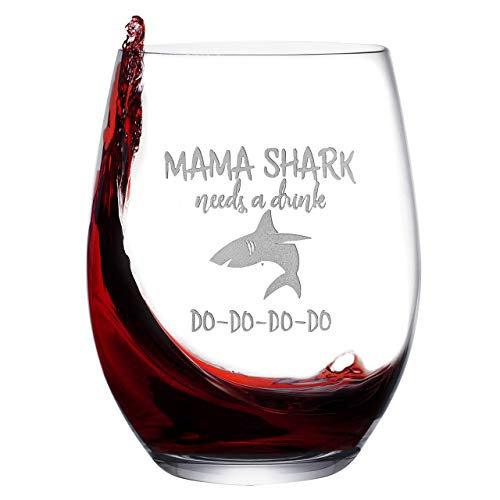 Baby Mama Shark Etched Wine Glass – Stemless Novelty Wine Glass for Women with Sayings – Funny Shark Gifts & Cup Accessories for Mom Mother Friends ()