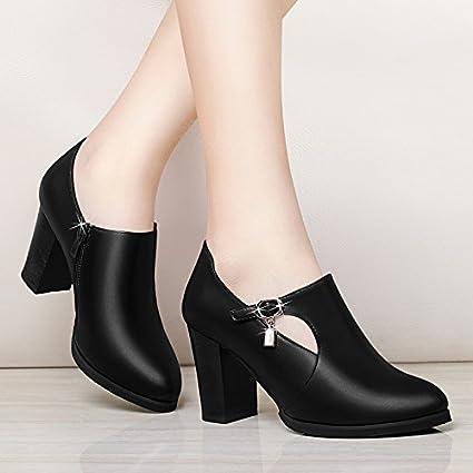 1f97772212364 SDKIR-Solo Chicas Con Zapatos De Primavera Y Otoño Nuevas Señoras De  Mediana Edad Zapatos
