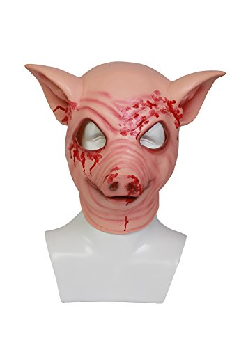 xcoser Miami Pig Mask Deluxe Latex Party Cosplay Costume Accessory Halloween -