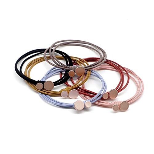 Hair Ring, Size Round Alloy High Elastic Rubber Band Female Hair Rope, 18 Pack