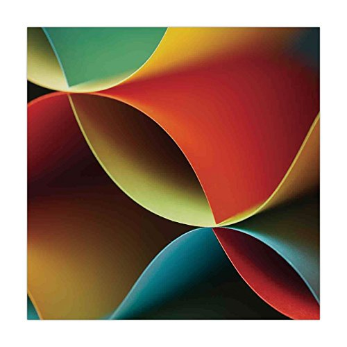 iPrint Satin Square Tablecloth,Abstract Decor,Graphic Curved Origami Design with Colored Details Artwork,Orange Blue White and Red,Dining Room Kitchen Table Cloth Cover