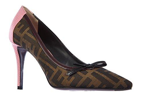 Fendi escarpins chaussures femme à talon camelia marron