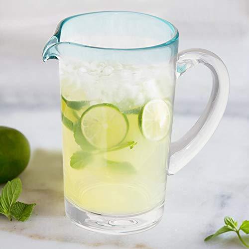 Glass Pitcher - Blue Rim Glass Water Pitcher - Lemonade Pitcher - Pouring Pitchers - Sangria Pitcher - Beer Pitcher - Juice Pitchers - Imperial Blue Rim