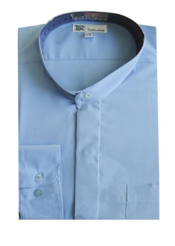 TDC Collection Men's Cotton Blend Banded Collar Dress Shirt 16-16 1/2 34-35 Sky Blue