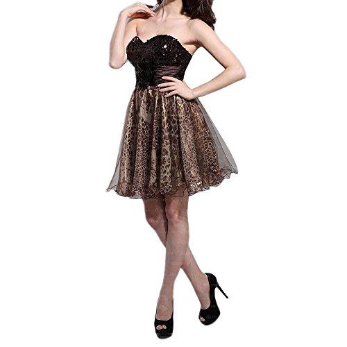 Leooptik bei Ital Mini Damen Cocktail Braun Design Festamo Für Kleid FSxdUqFwC