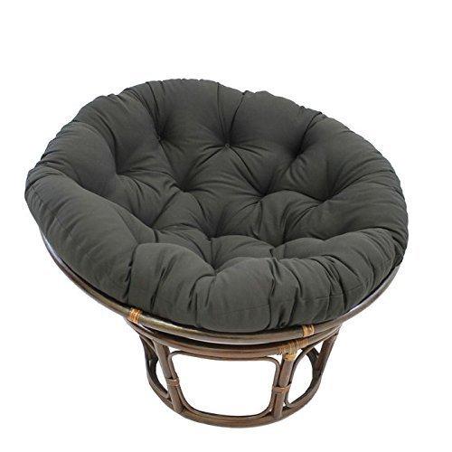 International Caravan 3312-TW-BK-IC Furniture Piece 42-Inch Rattan Papasan Chair with Solid Twill Cushion