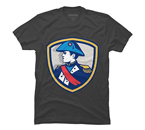 Napoleon Bonaparte Bicorn Hat Crest Retro Men's Large Charcoal Graphic T Shirt (Hat Napoleon)