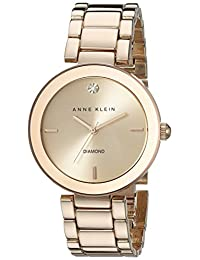 Anne Klein Women's AK/1362RGRG Diamond Dial Wall to Wall Rosegold-Tone Bracelet Watch