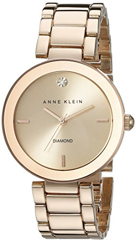 Anne Klein Womens AK1362RGRG Rose Gold-Tone Diamond-Accented Bracelet Watch