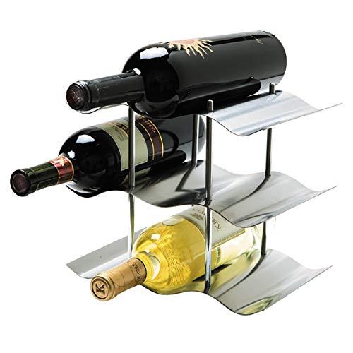 FamYun Stainless Steel Wine Rack, Countertop Independent Wine Rack, Simple Style 9 Bottle Wine Rack (Simple Wine Racks)